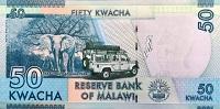 Malawi 50 Kwacha 2017 banknote back featuring elephants of Malawi