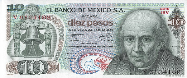Miguel Hidalgo, instigator of the War of Independence in 1810, is featured on the Mexico 10 peso 1977 banknote