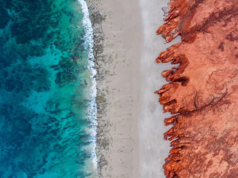 drone shot beach