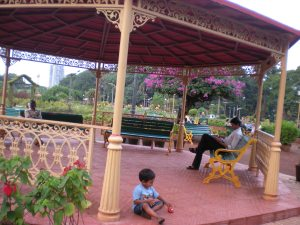 Lovely gazebo that provided shade from the sun and a place to rest (and play trains)