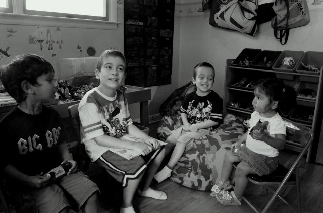 Don't let that nice reading circle fool you, soon those quiet kids were throwing angry birds at my husband...