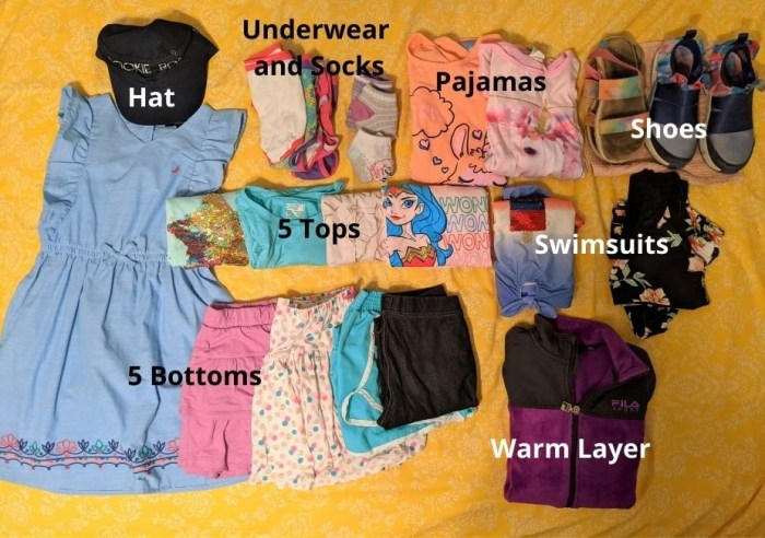 Example of clothes to pack for a kid for a vacation