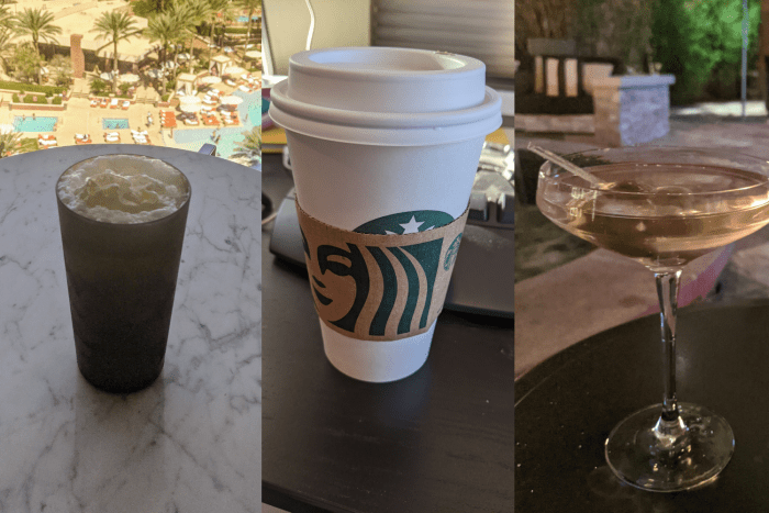 3 drinks, one in a tall cup, one in a Starbucks cup, and one in a martini glass