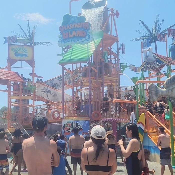 The dunk bucket and play area at Splashwater Island