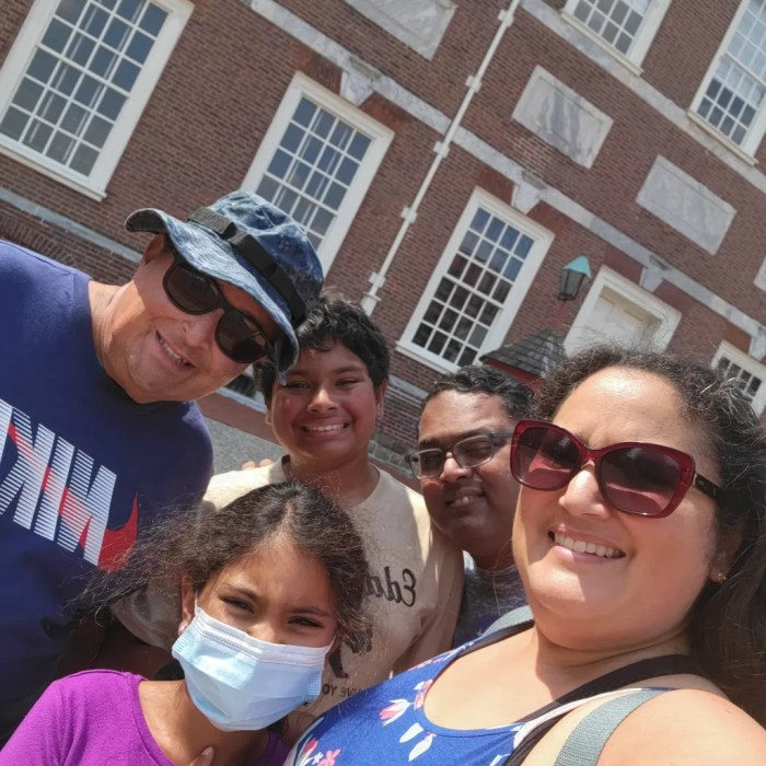 A family selfie in front of Independence Hall