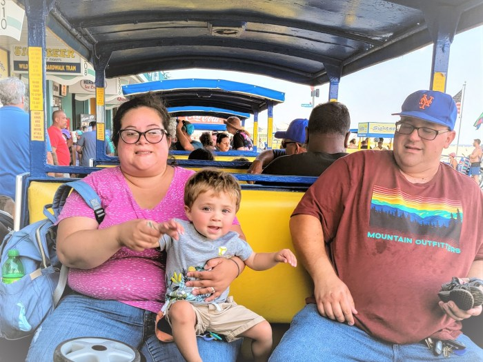 A young family on the tram car in Wildwood NJ