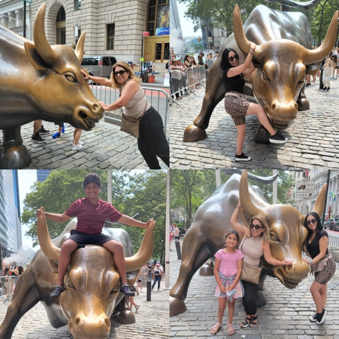 A collection of photos of a group in front of the Charging Bull Sculpture