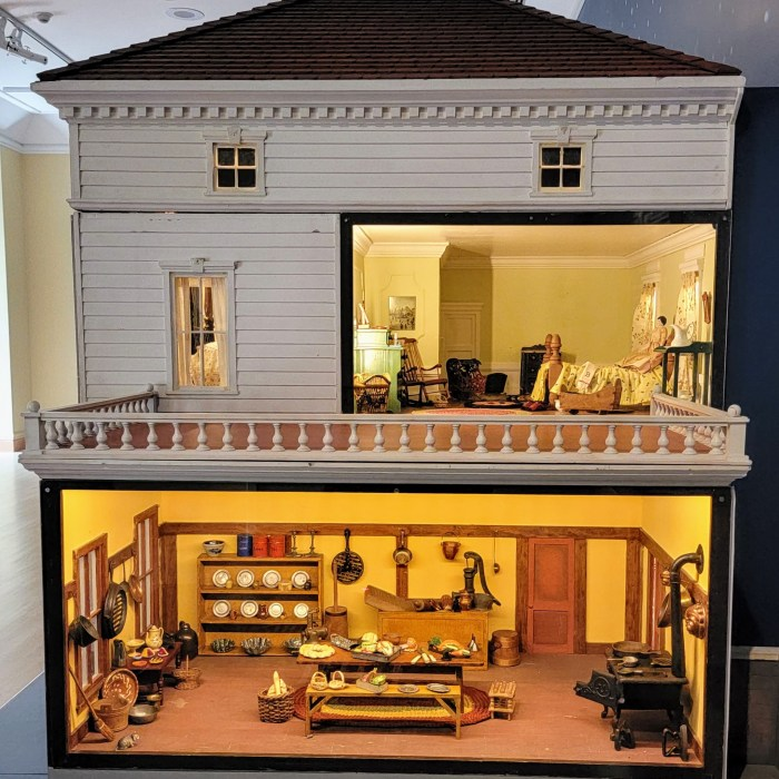 The size of a massive doll house with scenes from the doll house's bedroom and kitchen.