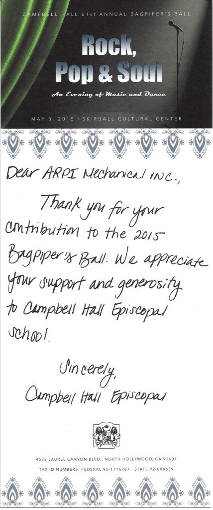Campbell Hall Event 2015 Thank you