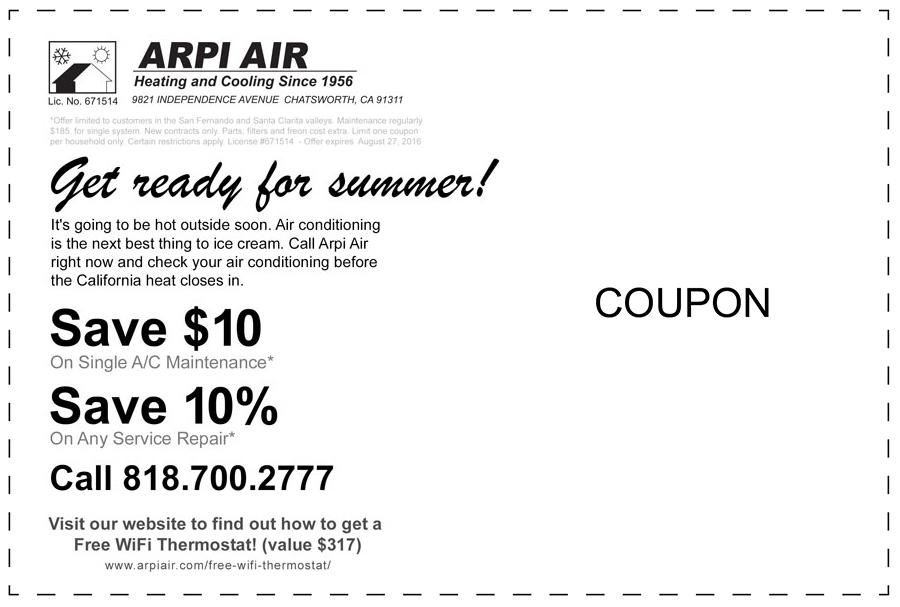 air conditioning service savings coupon