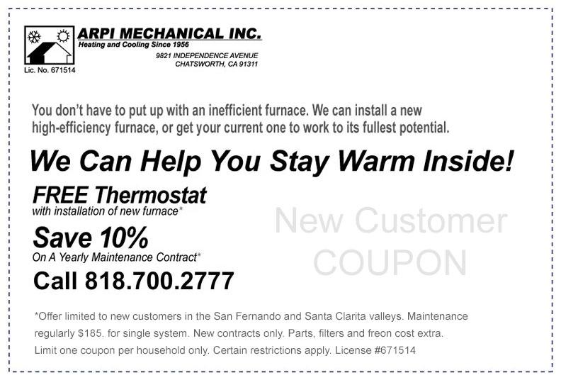 ARPI Air HVAC savings coupon
