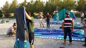 Refugee pic 1 - setting up tents