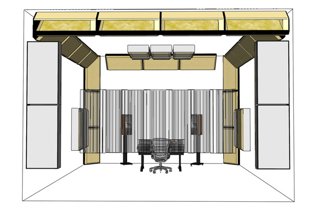 Soffit bass traps and corner traps arranged in room layout 3