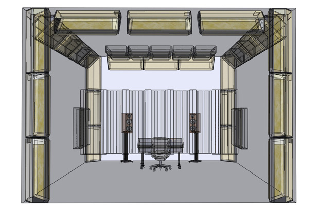 Critical listening / control room with extensive use of corner bass traps