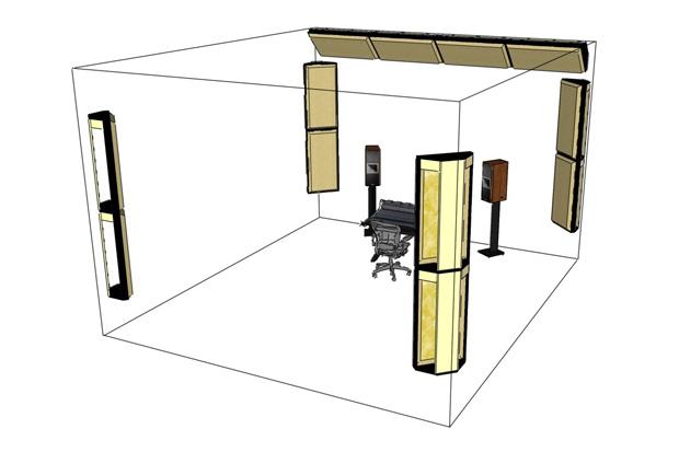 Basic corner bass absorption arrangement (dihedral wall-to-wall corner focus).