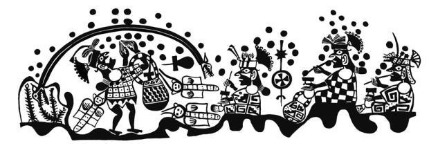 Ai-Apaec y la serpiente bicéfala Ai-Apaec participa en un ritual chacchando coca junto con sus anfitriones, los cuales portan armas propias de los vecinos altoandinos. Por encima de la escena aparece una serpiente bicéfala al tiempo que parecen iniciarse las lluvias. Ai-Apaec captura la serpiente y se la enrosca en la cintura. MALI