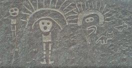 Dos personajes con tocado y animales Figuras de la cultura de Paracas: dos personajes con tocado y animales. En San Ignacio, en la provincia de Palpa. Foto: Diego Ochoa