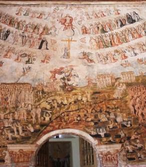 Juicio Final de Tadeo Escalante, 1802. Iglesia de Huaro, Provincia de Quispicanchi. Foto del autor. Nota similitudes con el mural en Zurite, en particular en el registro superior de la composición