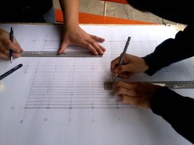 Detalle, dibujo planta de estructuras, ex-consultorio de Antuco