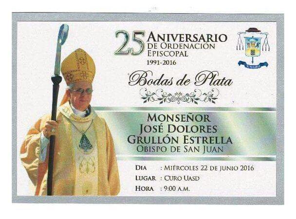 Obispo San Juan de la Maguana Celebra 25 Aniversario Ordenación Episcopal