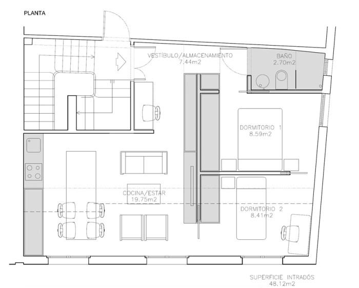planta-arquitecto-vigo-porto-remodelacion-piso-edificio-muebles-arquitectos