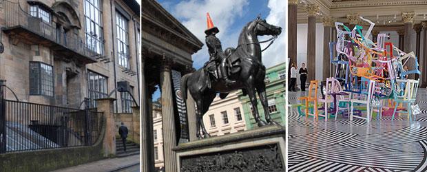De izquierda a derecha, el edificio de la Glasgow School of Art (proyectado por C. R. Mackintosh), la estatua del tabaquero William Cunningham frente a la Bolsa y una obra del artista escocés Jim Lambie en el GOMA.