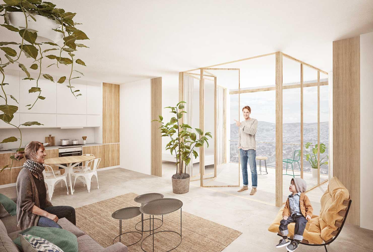 concurso vivienda protegida masnou sostenible arquitopia, vista interior