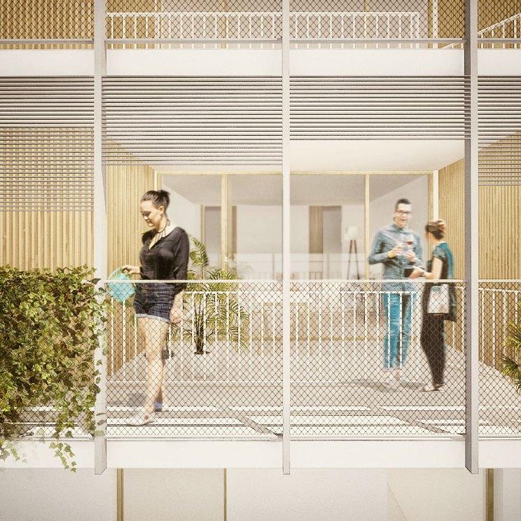 concurso vivienda protegida olesa de montserrat sostenible arquitopia vista pasarela