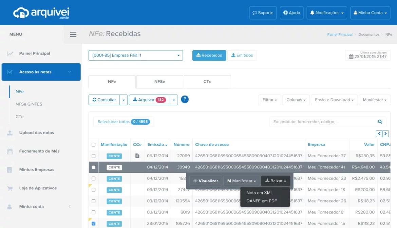 Plataforma do Arquivei com a consulta de XMLs