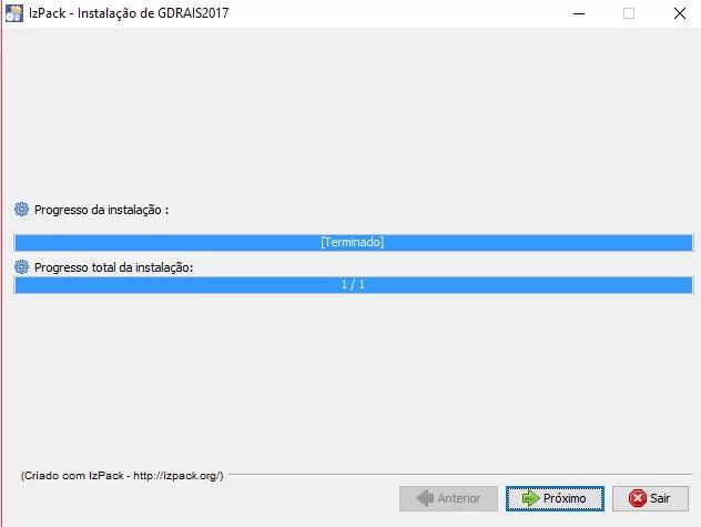 Progresso de instalação GDRAIS 2018
