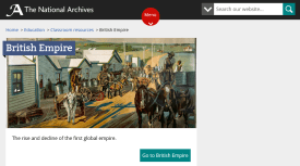 Print da página inicial da série sobre o Império Britânico, de seu nascimento até o declínio.