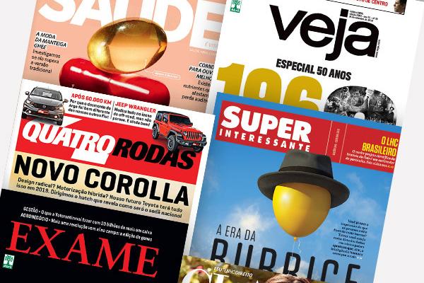 Grupo Abril publica revistas como VEJA, Quatro Rodas, Cláudia, Exame e Super Interessante