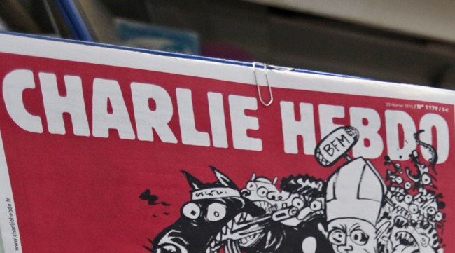 The front page of the new issue of satirical French weekly Charlie Hebdo entitled is displayed at a kiosk in Nice