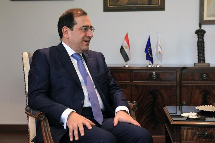 Tarek El Molla, Egypt's Minister of Petroleum and Mineral Resources, is seen during a meeting with Cypriot Foreign Minister Ioannis Kasoulides at the Ministry of Foreign Affairs in Nicosia