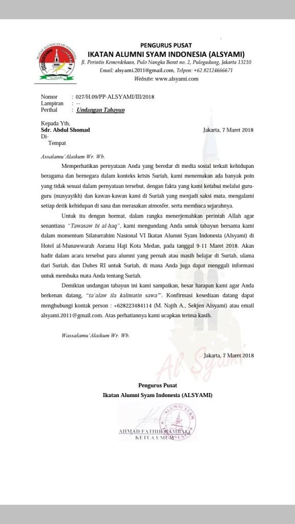 Surat AlSyami kepada Ustadz Abdul Somad