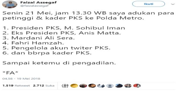 21 Mei, Faisal Assegaf Akan Laporkan Para Petinggi PKS ke Polda Metro