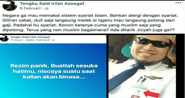 Denny Siregar Ungkap Jejak Pilot Radikal 'Tengku Said Irfan Assegaf'