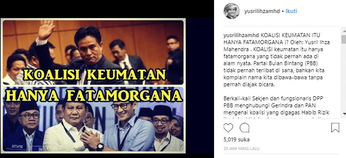 Curhatan Kesal Yusril Tak Diajak Gabung Koalisi Prabowo