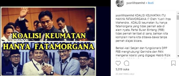 Akun Instagram Yusril