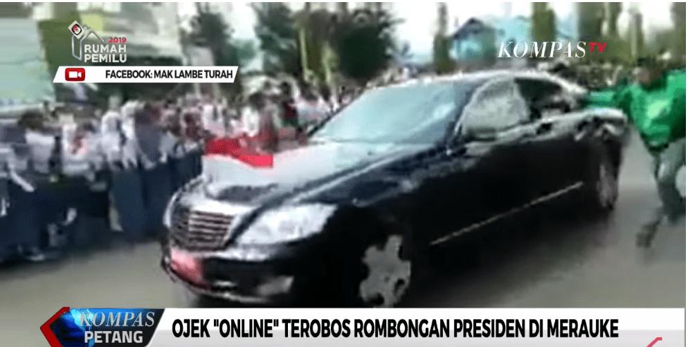 Nekat, Tukang Ojek Online Papua Terobos Pampres dan Rombongan Jokowi
