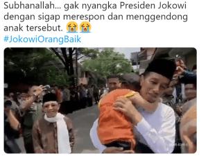 Jokowi gendong Anak Berkebutuhan Khusus