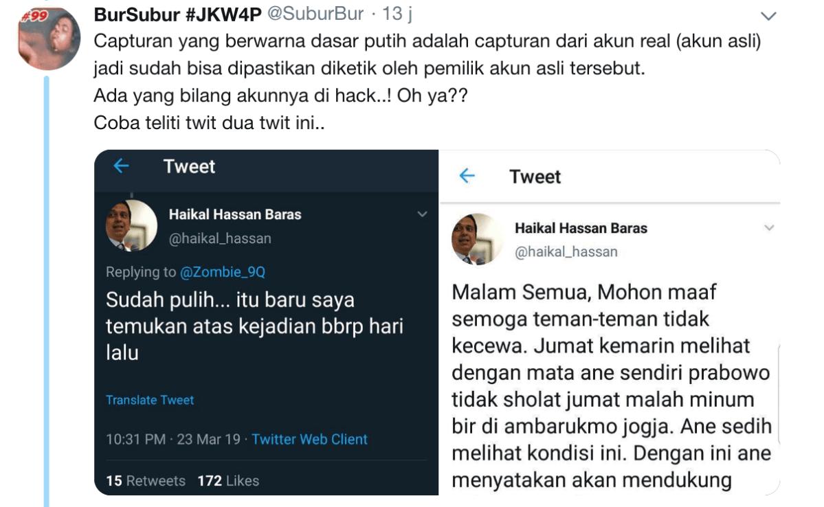 "Netizen Bongkar Skenario Jahat Cuitan Haikal Hassan ""Prabowo Minum Bir"""