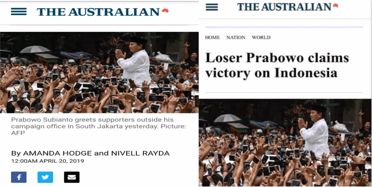 Berita Pedas Media Australia 'Loser Prabowo Claims Victory on Indonesia'