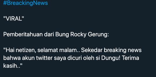 Rocky Gerung, Twitter, Hacked
