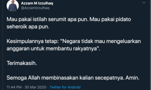 Azzam M Izzulhaq Sebar Provokasi Bahaya Anti Pemerintah Disaat Wabah Corona