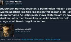 Sebar Berita Bohong Soal Darurat Sipil, Muannas Alaidid Akan Polisikan Ali Baharsyah