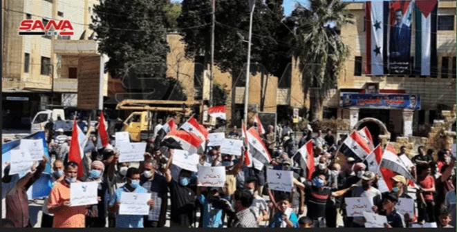 Demo Warga Hasakah Tuntut Pasukan AS dan Turki Keluar dari Suriah
