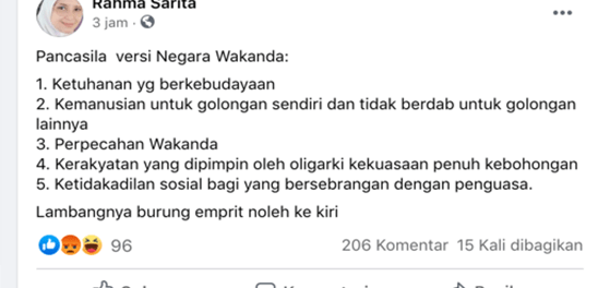 Viral, Akun Facebook Rahma Sarita Unggah Pancasila Versi Negara Wakanda