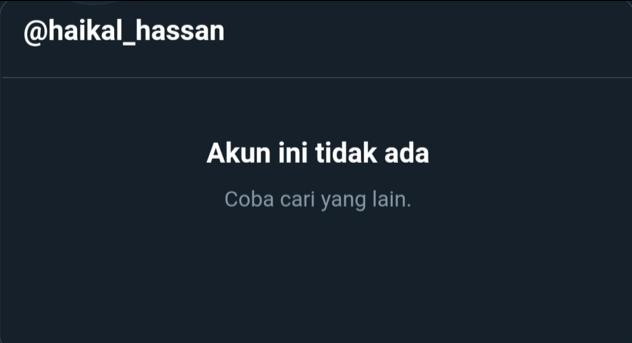 Akun Twitter Babe Haikal Hassan Menghilang