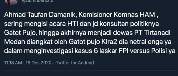Arief Pouyono Bongkar Kedok Komisioner Komnas HAM Ahmad Taufan
